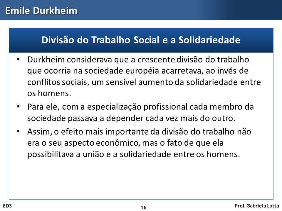 Divisão do Trabalho Social e a Solidariedade