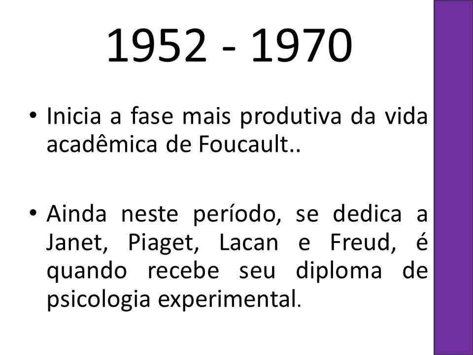 1952 - 1970 Inicia a fase mais produtiva da vida acadêmica de Foucault..