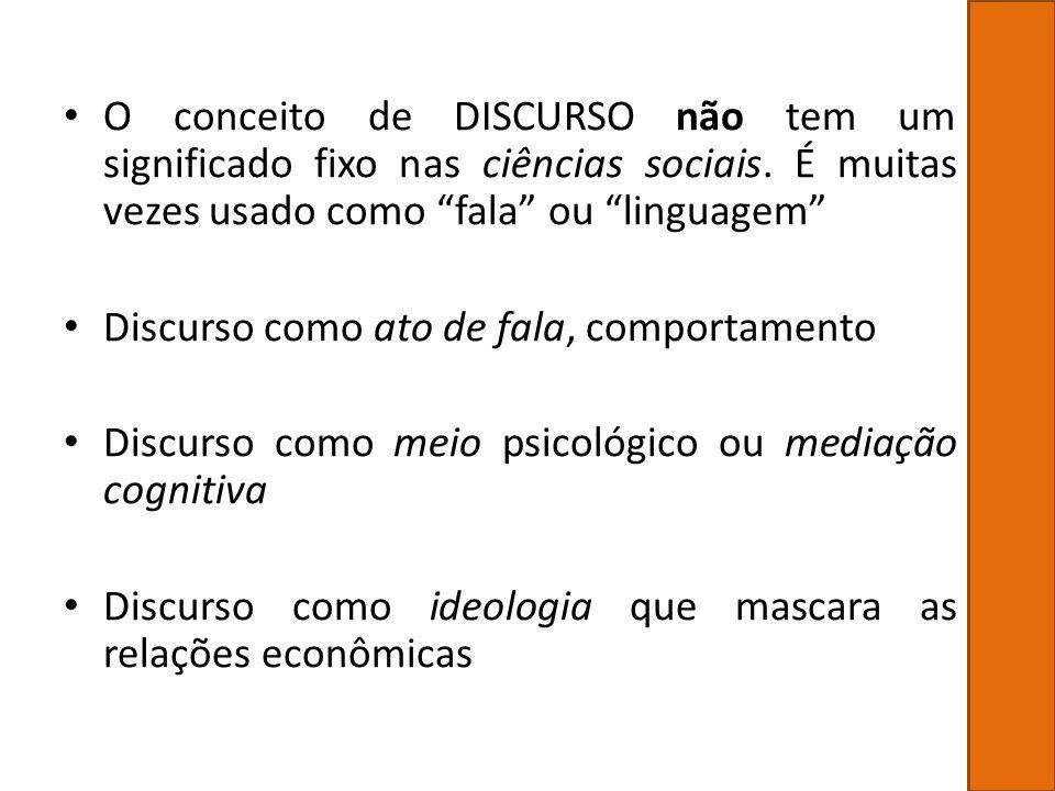 O conceito de DISCURSO não tem um significado fixo nas ciências sociais. É muitas vezes usado como fala ou linguagem