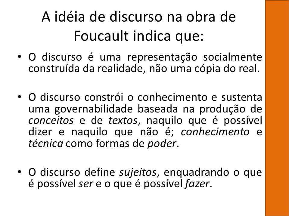 A idéia de discurso na obra de Foucault indica que: