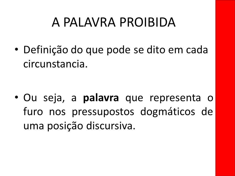 A PALAVRA PROIBIDA Definição do que pode se dito em cada circunstancia.