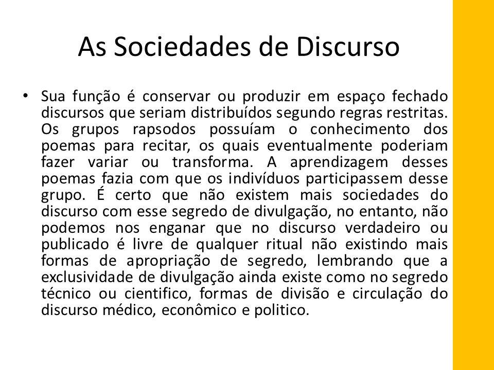 As Sociedades de Discurso