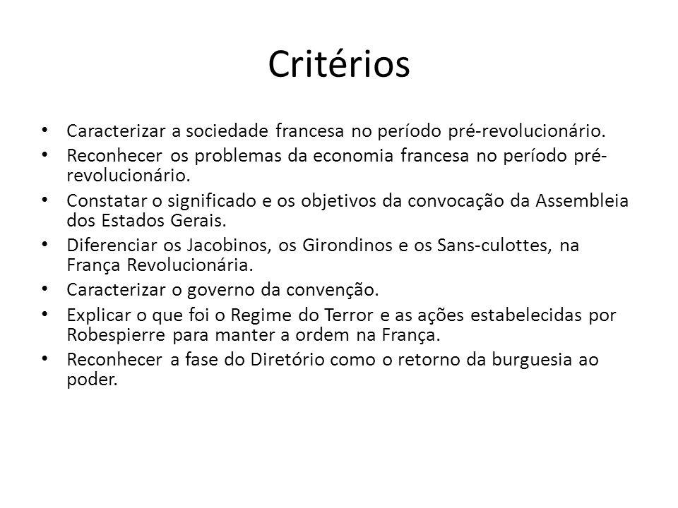 Critérios Caracterizar a sociedade francesa no período pré-revolucionário.
