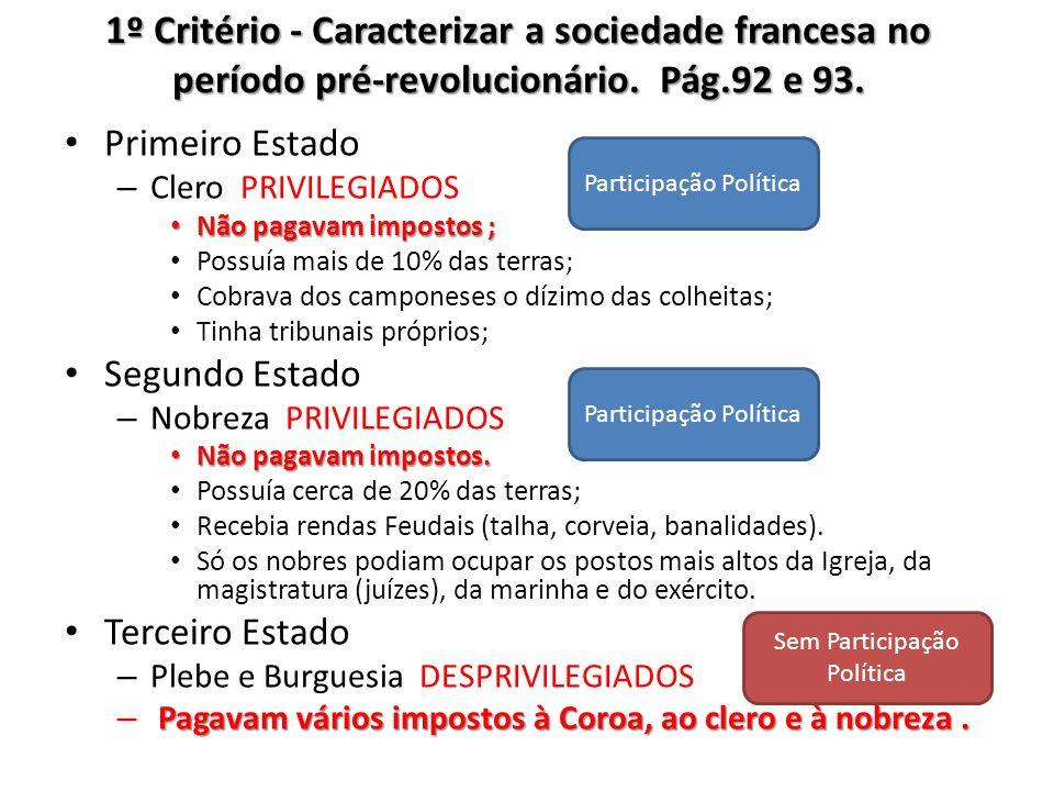 1º Critério - Caracterizar a sociedade francesa no período pré-revolucionário. Pág.92 e 93.