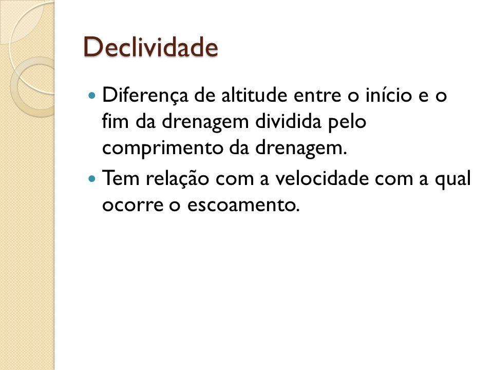 Declividade Diferença de altitude entre o início e o fim da drenagem dividida pelo comprimento da drenagem.