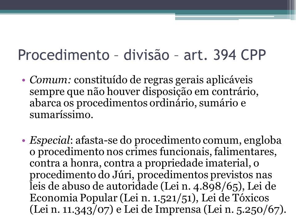 Procedimento – divisão – art. 394 CPP
