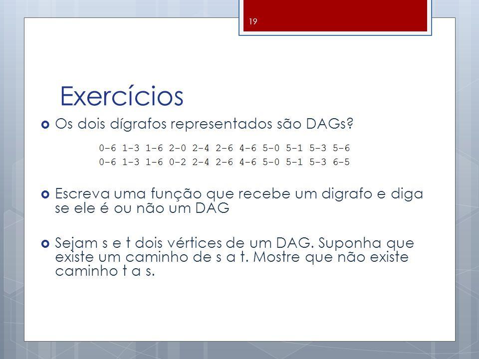 Exercícios Os dois dígrafos representados são DAGs