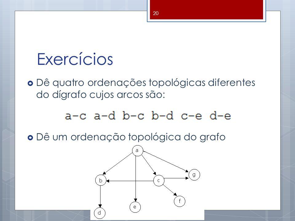 Exercícios Dê quatro ordenações topológicas diferentes do dígrafo cujos arcos são: Dê um ordenação topológica do grafo.