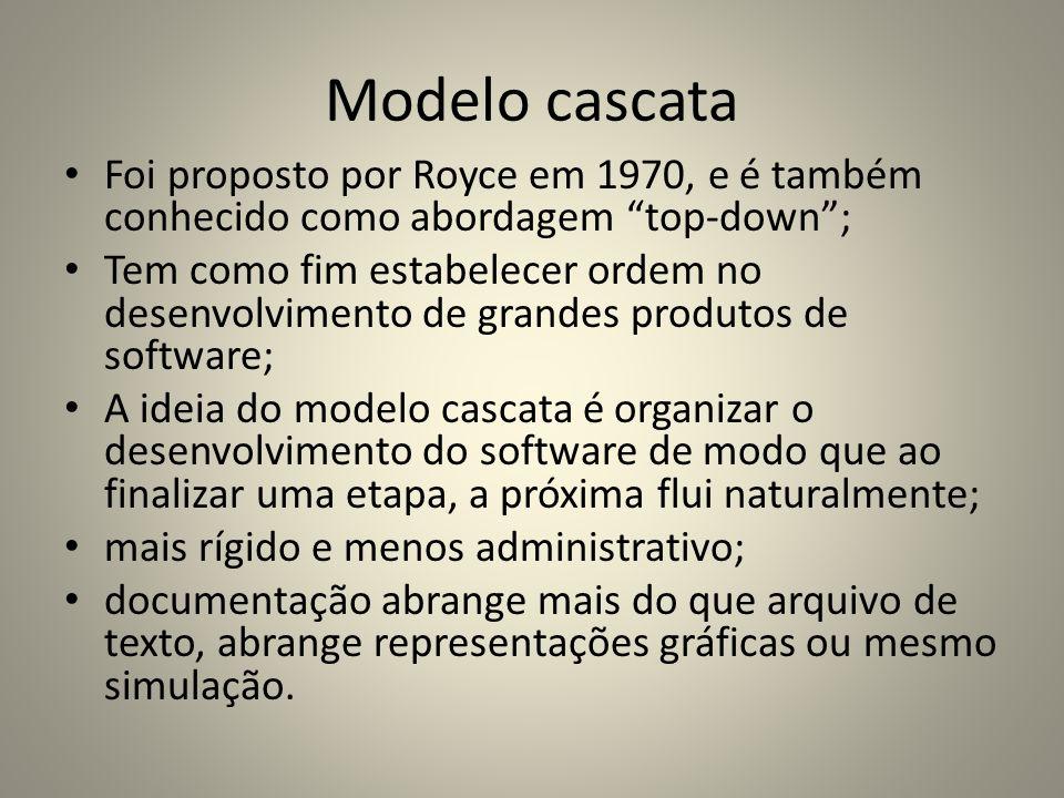 Modelo cascataFoi proposto por Royce em 1970, e é também conhecido como abordagem top-down ;