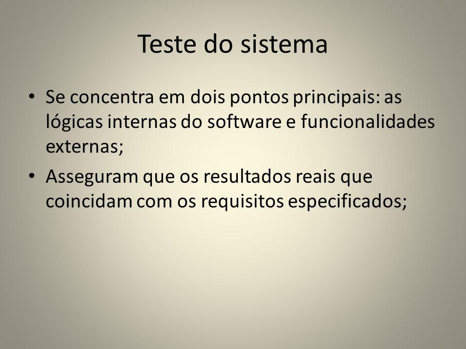 Teste do sistemaSe concentra em dois pontos principais: as lógicas internas do software e funcionalidades externas;