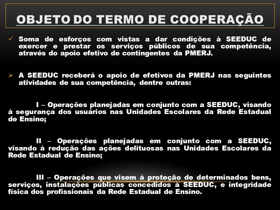 Objeto do termo de cooperação