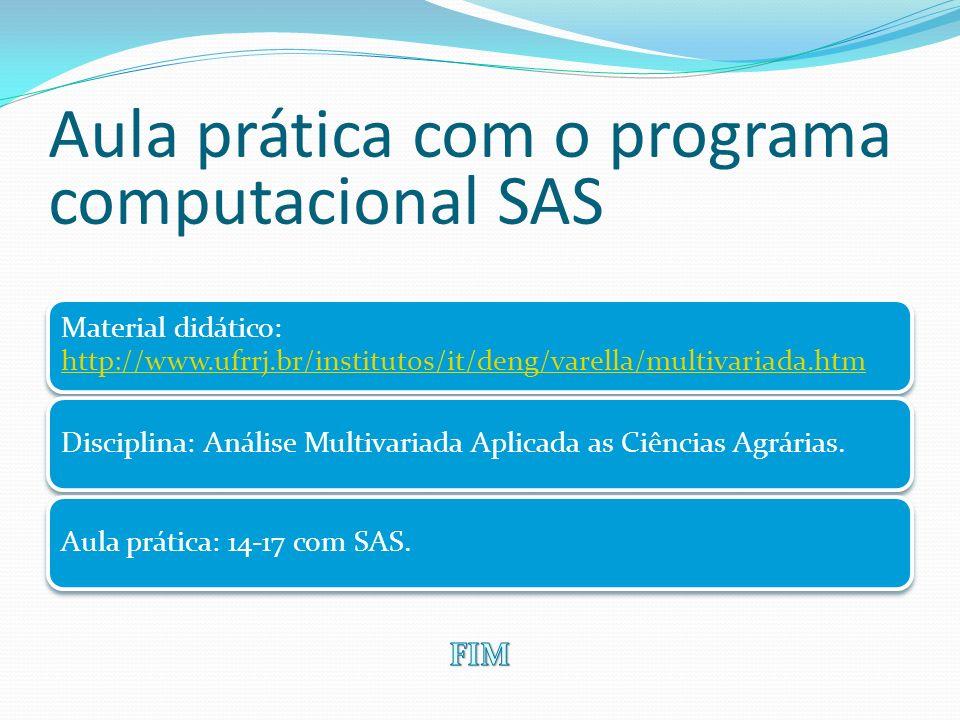 Aula prática com o programa computacional SAS