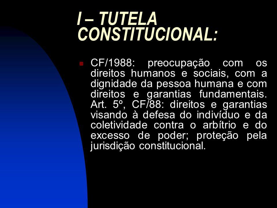 I – TUTELA CONSTITUCIONAL: