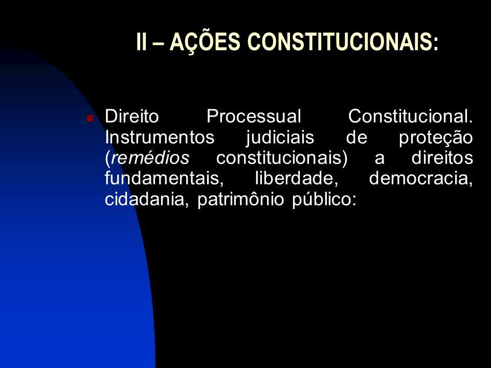 II – AÇÕES CONSTITUCIONAIS: