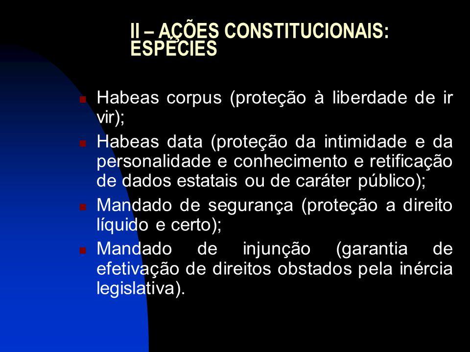 II – AÇÕES CONSTITUCIONAIS: ESPÉCIES