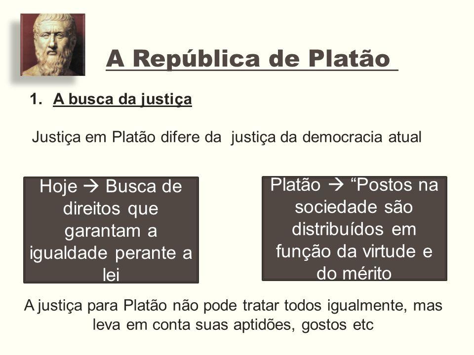 A República de Platão A busca da justiça. Justiça em Platão difere da justiça da democracia atual.