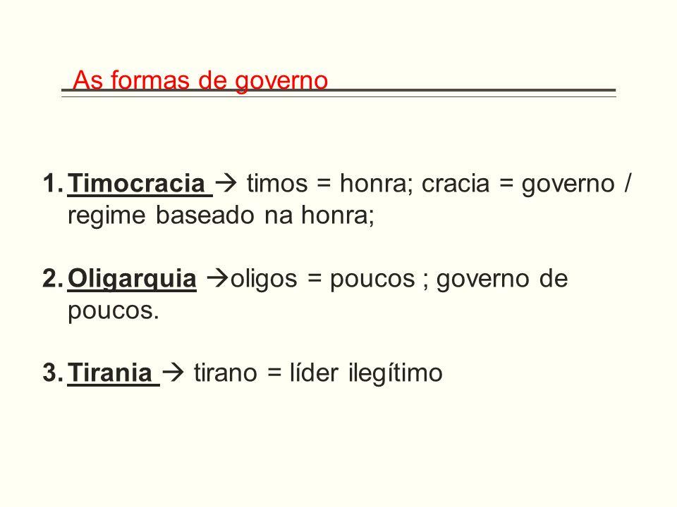 As formas de governo Timocracia  timos = honra; cracia = governo / regime baseado na honra; Oligarquia oligos = poucos ; governo de poucos.
