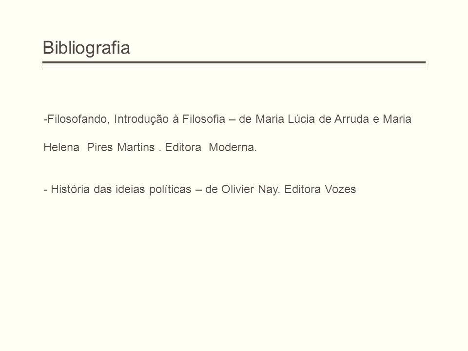 Bibliografia Filosofando, Introdução à Filosofia – de Maria Lúcia de Arruda e Maria. Helena Pires Martins . Editora Moderna.