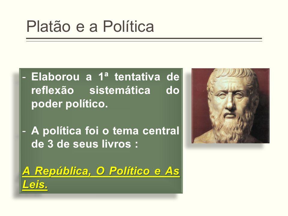 Platão e a Política Elaborou a 1ª tentativa de reflexão sistemática do poder político. A política foi o tema central de 3 de seus livros :
