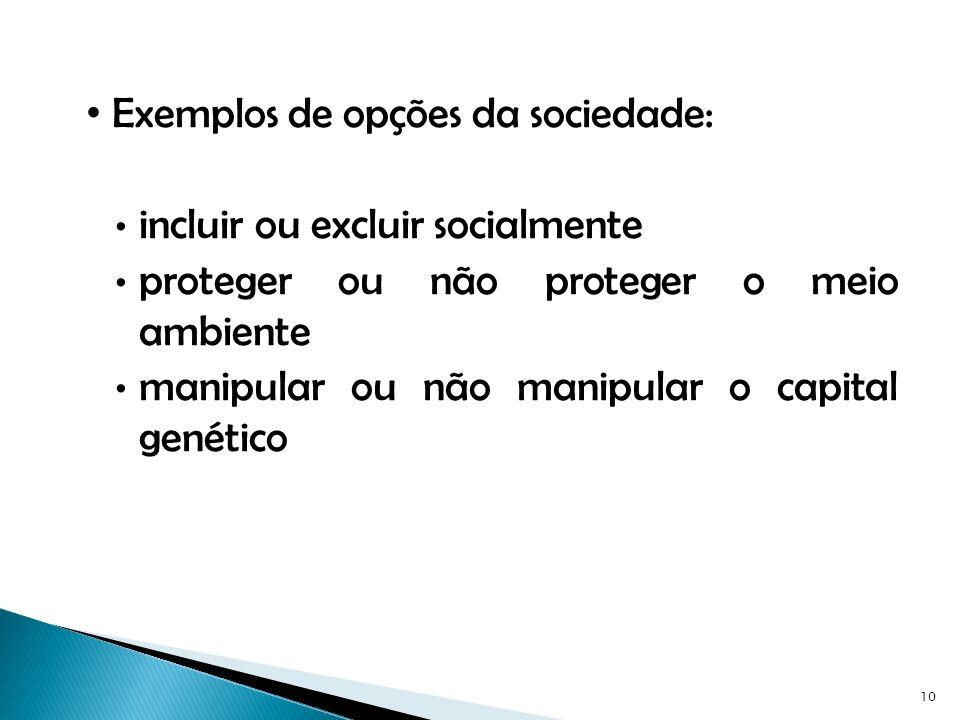Exemplos de opções da sociedade: