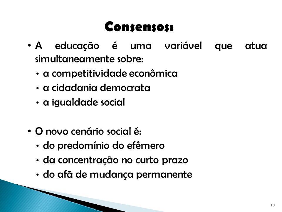 Consensos: A educação é uma variável que atua simultaneamente sobre: