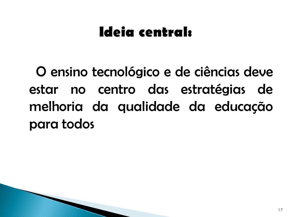 Ideia central: O ensino tecnológico e de ciências deve estar no centro das estratégias de melhoria da qualidade da educação para todos.
