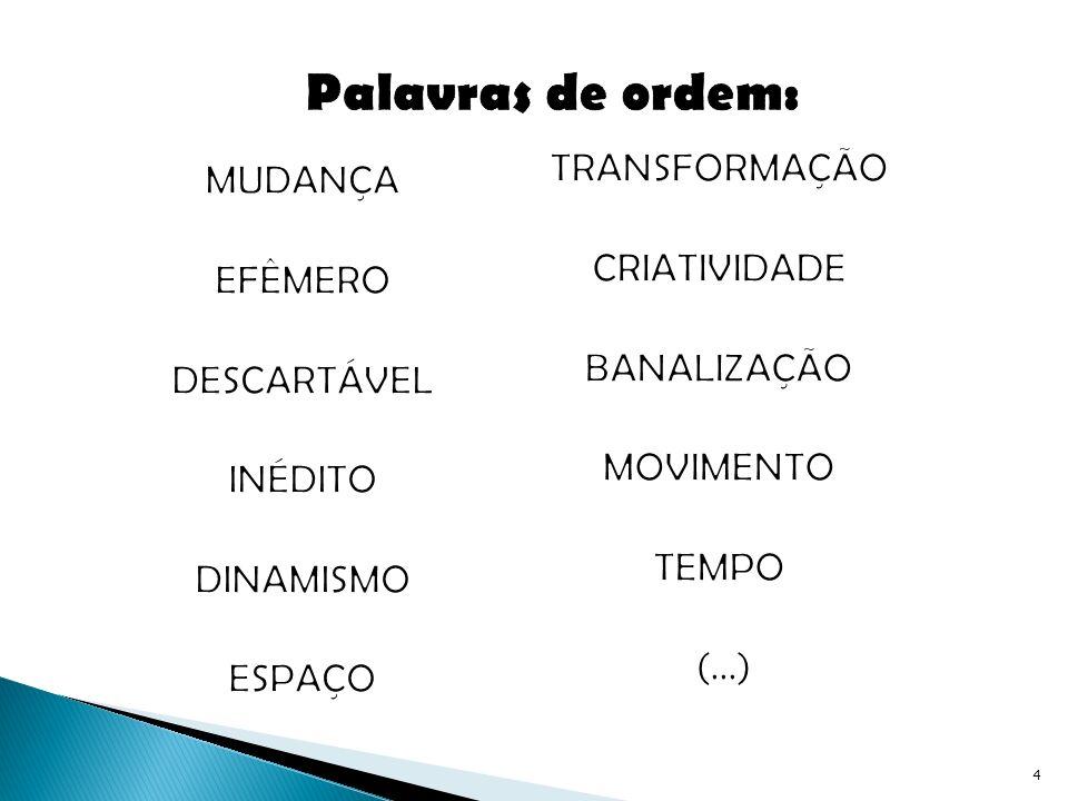 Palavras de ordem: TRANSFORMAÇÃO MUDANÇA CRIATIVIDADE EFÊMERO