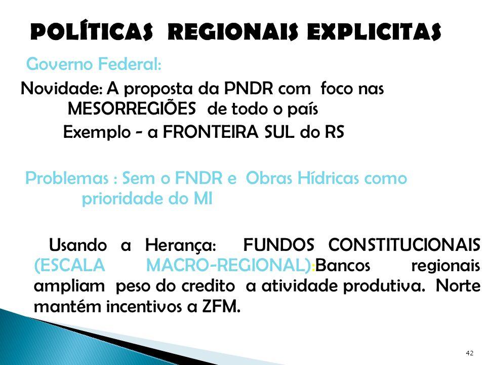 POLÍTICAS REGIONAIS EXPLICITAS