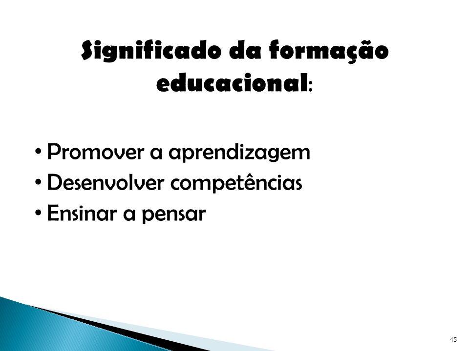 Significado da formação educacional: