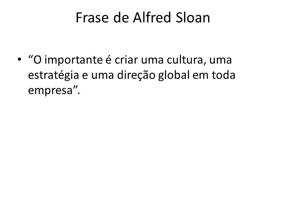 Frase de Alfred Sloan O importante é criar uma cultura, uma estratégia e uma direção global em toda empresa .