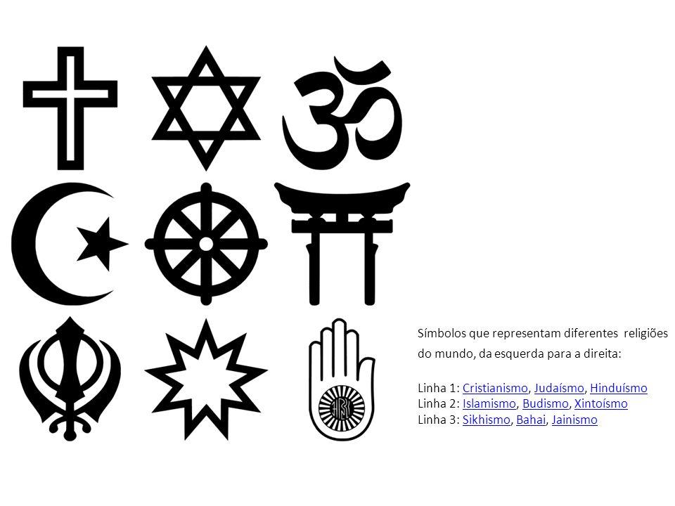 Símbolos que representam diferentes religiões do mundo, da esquerda para a direita: