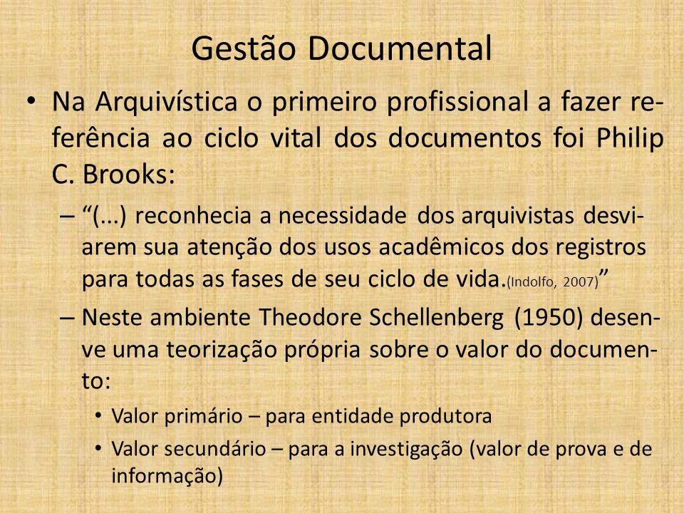 Gestão Documental Na Arquivística o primeiro profissional a fazer re-ferência ao ciclo vital dos documentos foi Philip C. Brooks: