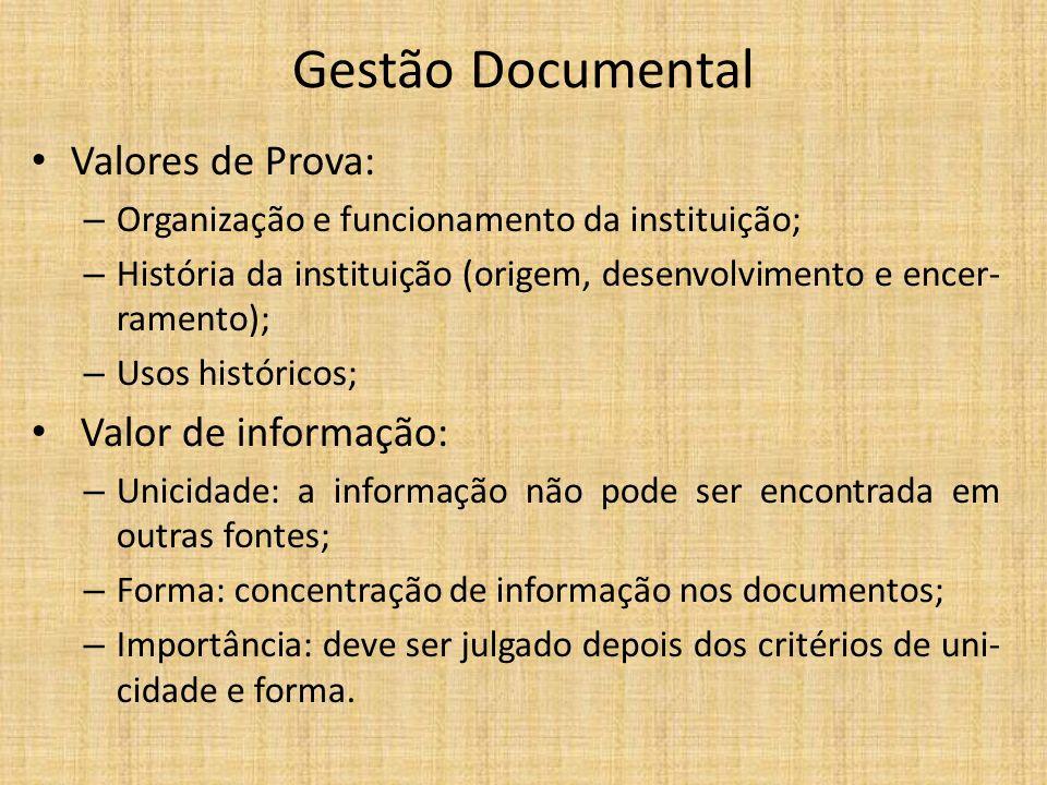 Gestão Documental Valores de Prova: Valor de informação: