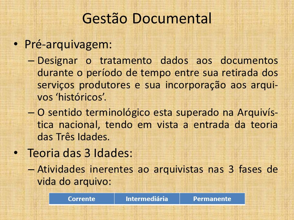 Gestão Documental Pré-arquivagem: Teoria das 3 Idades: