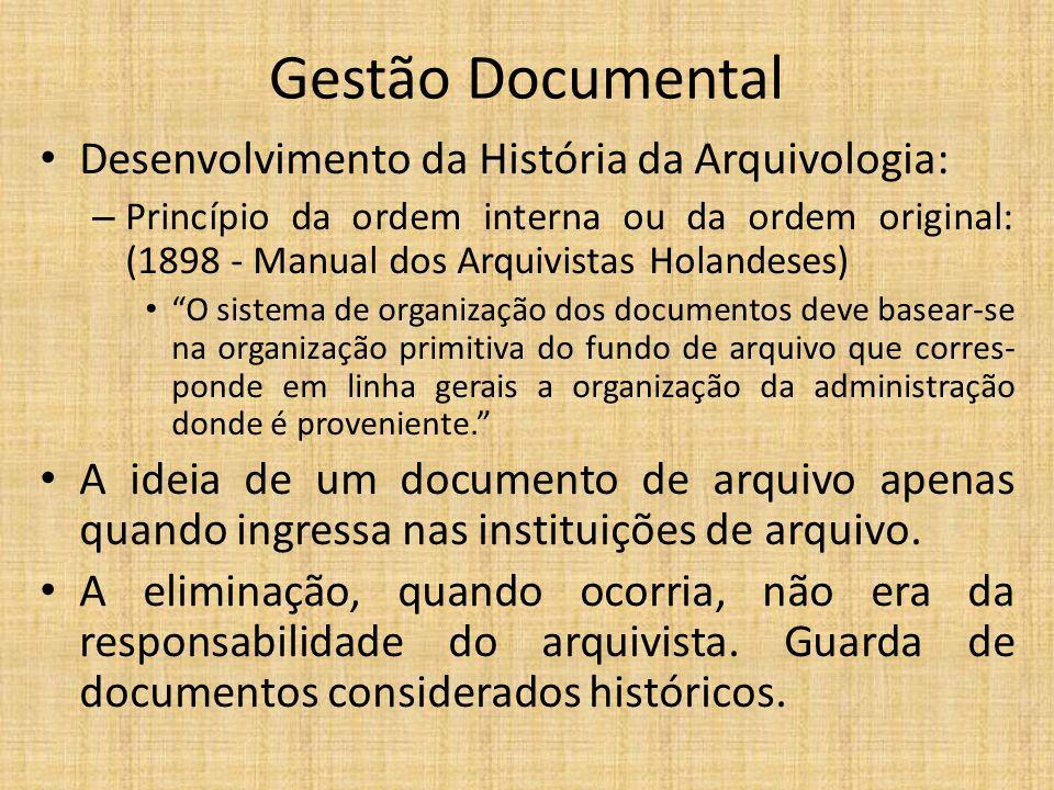 Gestão Documental Desenvolvimento da História da Arquivologia: