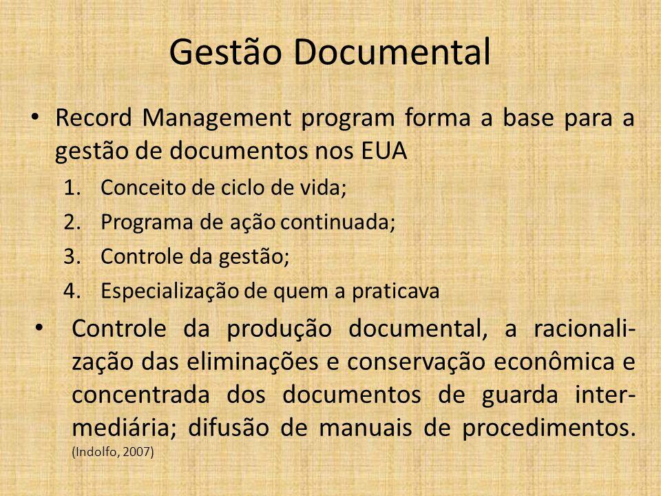 Gestão Documental Record Management program forma a base para a gestão de documentos nos EUA. Conceito de ciclo de vida;
