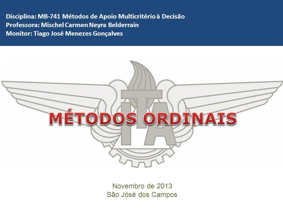 Disciplina: MB-741 Métodos de Apoio Multicritério à Decisão