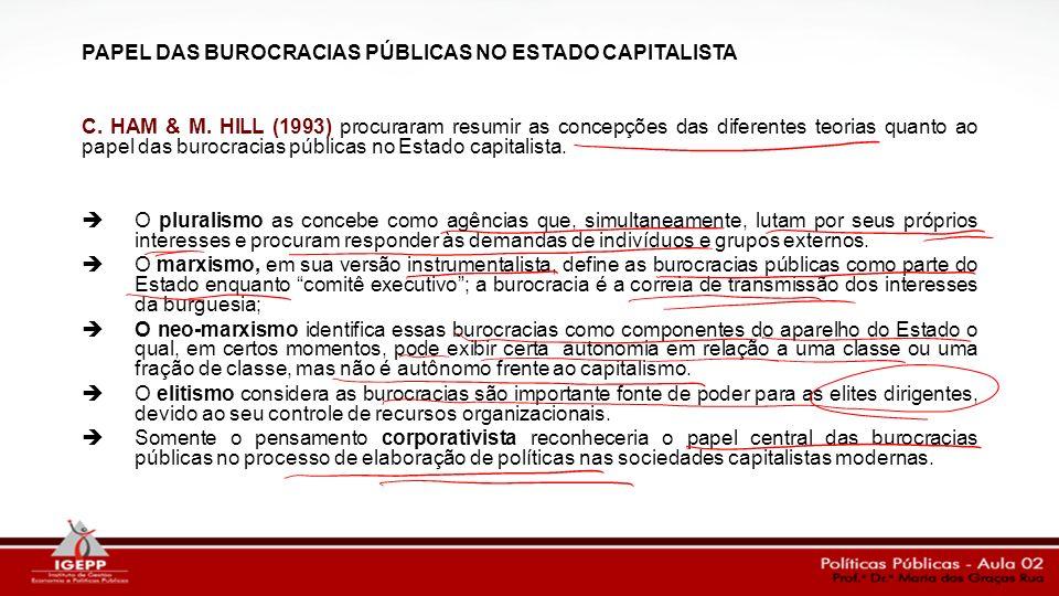 PAPEL DAS BUROCRACIAS PÚBLICAS NO ESTADO CAPITALISTA