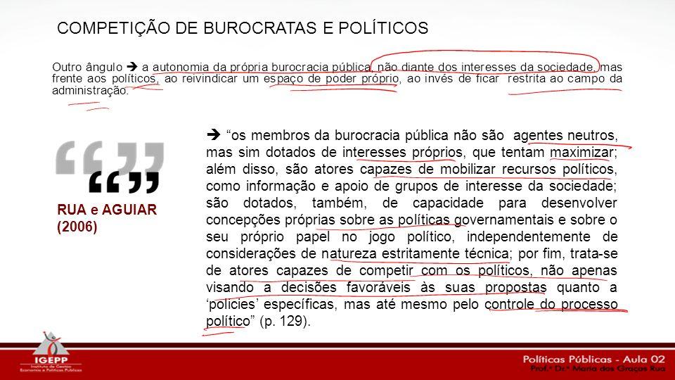COMPETIÇÃO DE BUROCRATAS E POLÍTICOS