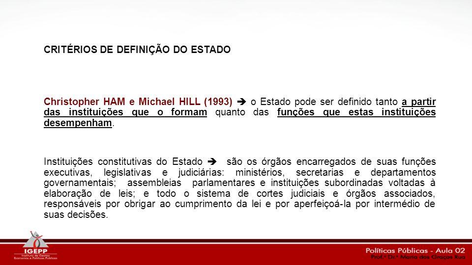 CRITÉRIOS DE DEFINIÇÃO DO ESTADO