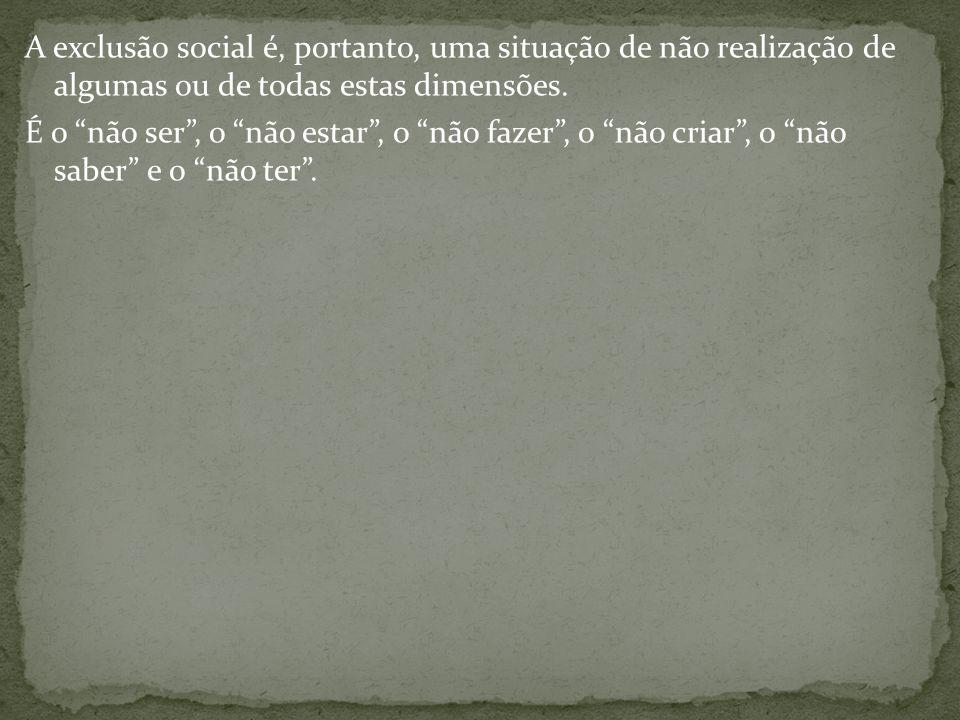 A exclusão social é, portanto, uma situação de não realização de algumas ou de todas estas dimensões.