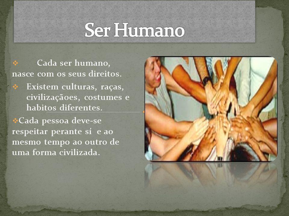 Ser Humano Cada ser humano, nasce com os seus direitos.