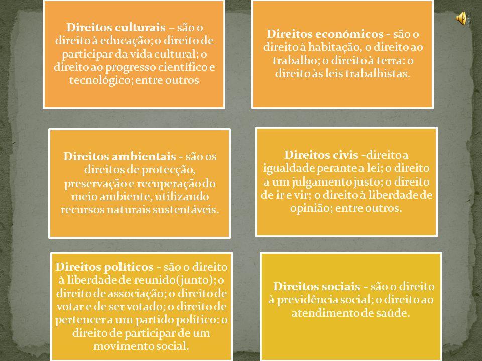 Direitos culturais – são o direito à educação; o direito de participar da vida cultural; o direito ao progresso científico e tecnológico; entre outros