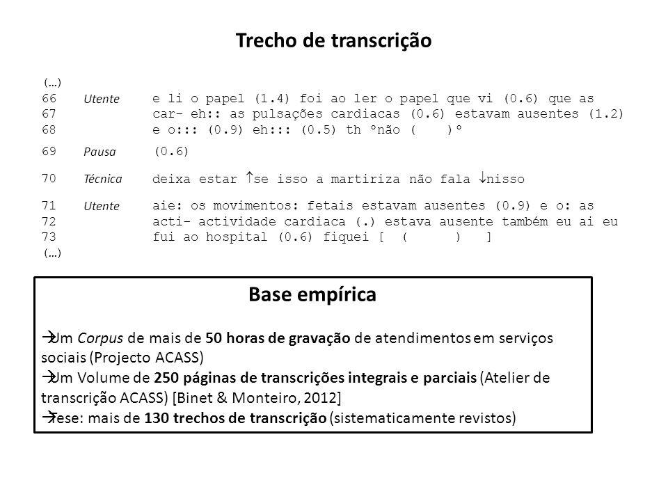 Trecho de transcrição Base empírica
