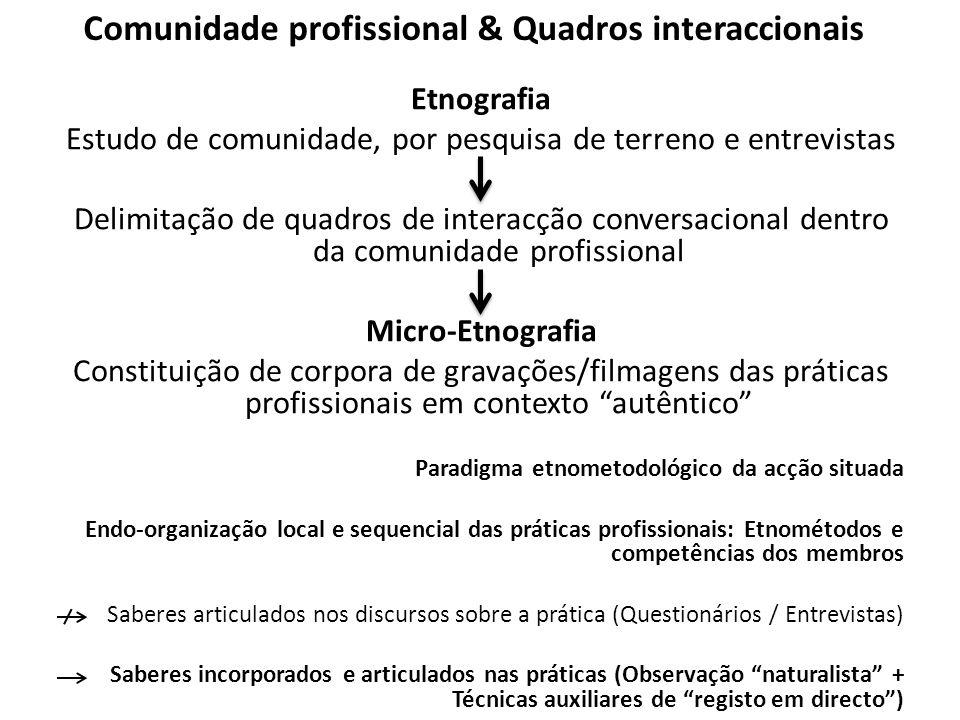 Comunidade profissional & Quadros interaccionais