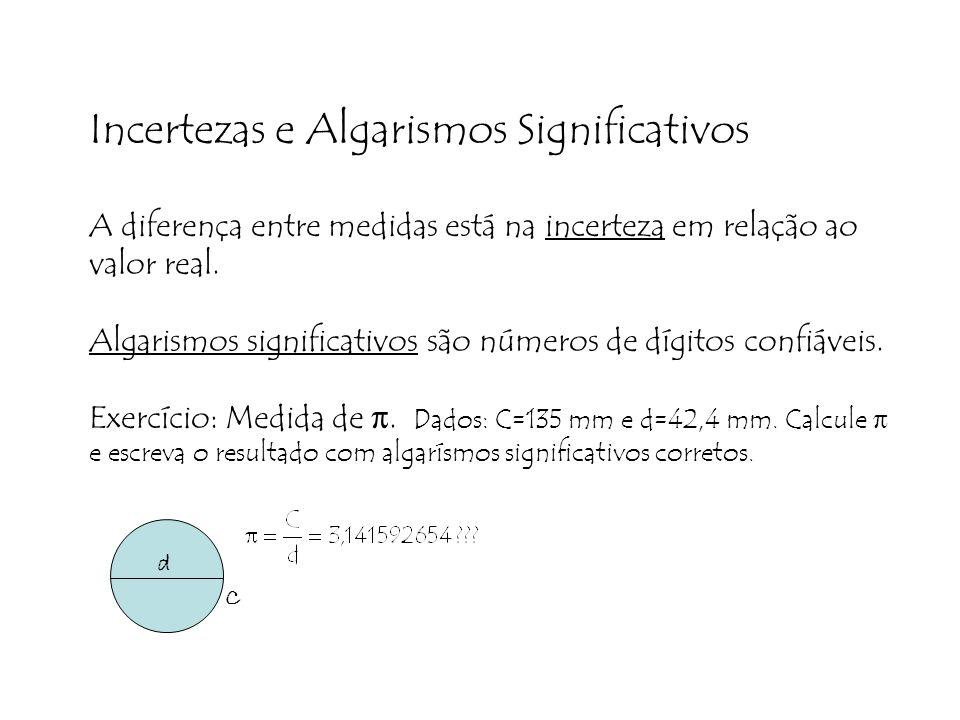 Incertezas e Algarismos Significativos A diferença entre medidas está na incerteza em relação ao valor real. Algarismos significativos são números de dígitos confiáveis. Exercício: Medida de π. Dados: C=135 mm e d=42,4 mm. Calcule π e escreva o resultado com algarísmos significativos corretos.