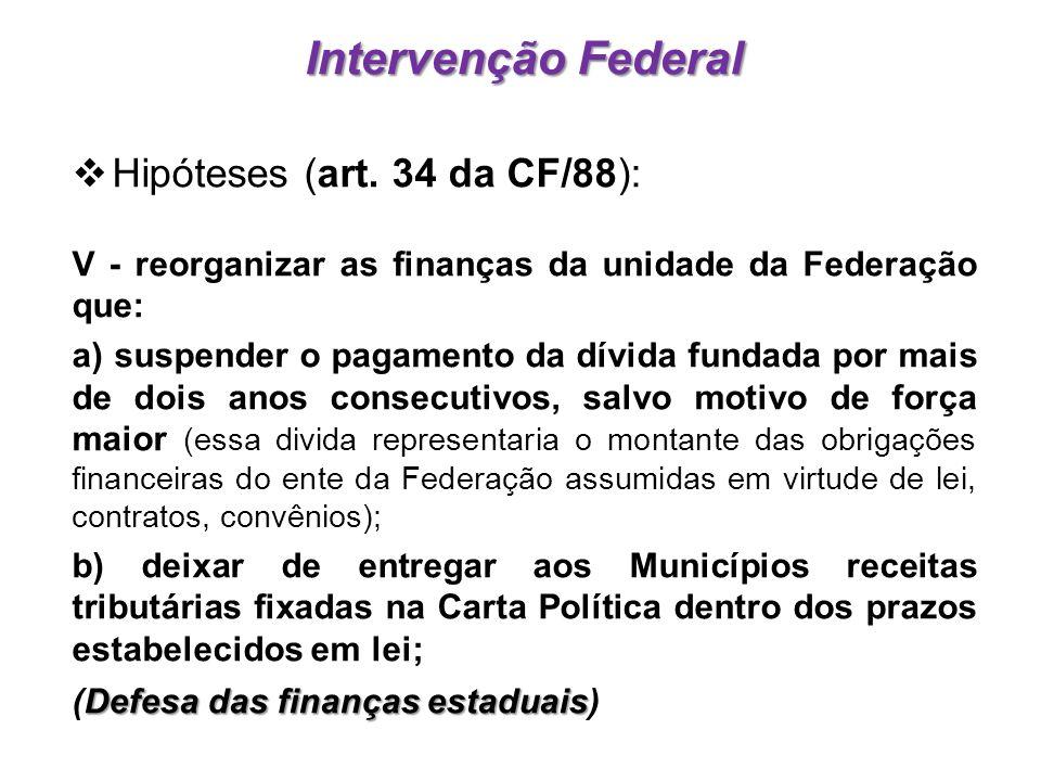 Intervenção Federal Hipóteses (art. 34 da CF/88):