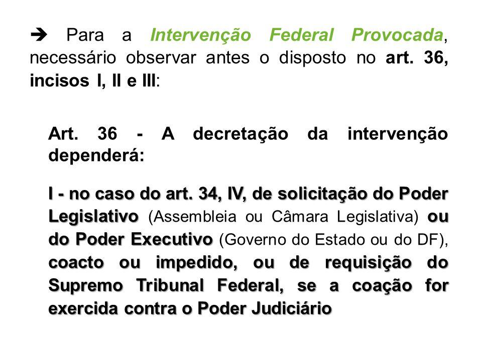 Art. 36 - A decretação da intervenção dependerá: