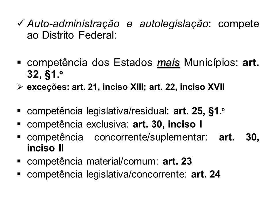 Auto-administração e autolegislação: compete ao Distrito Federal: