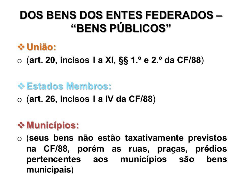 DOS BENS DOS ENTES FEDERADOS – BENS PÚBLICOS